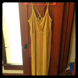 14 ASOS plisse cami dress with wrap front -yellow